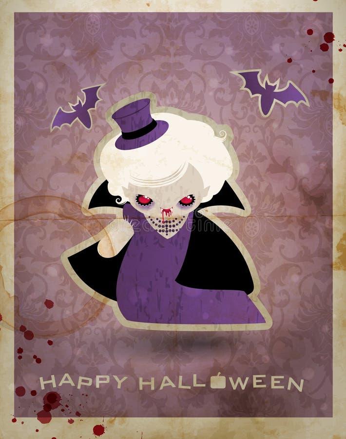 Carte postale de Veille de la toussaint avec le petit vampire mignon illustration de vecteur