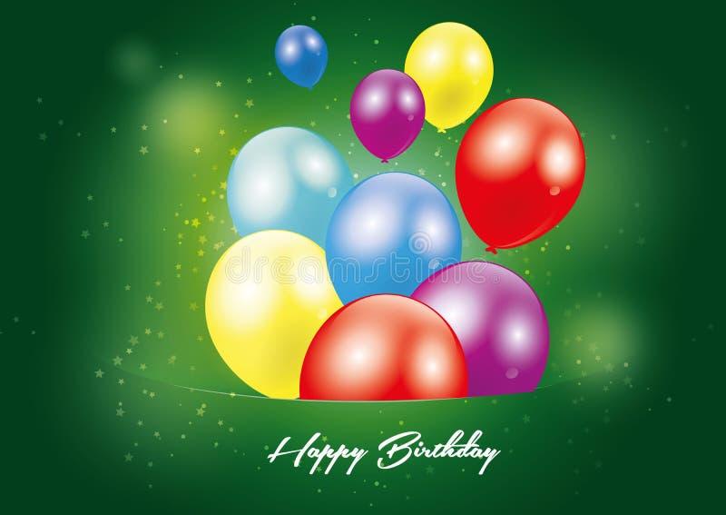Carte postale de vert de joyeux anniversaire image libre de droits