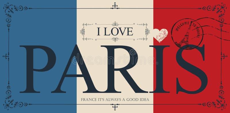 Carte postale de vintage avec amour Paris des mots I illustration libre de droits