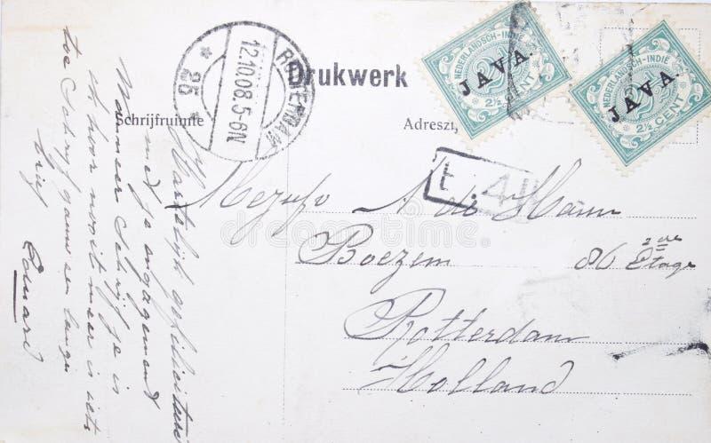 Carte postale de vintage de 1908 de Java vers les Pays-Bas image libre de droits