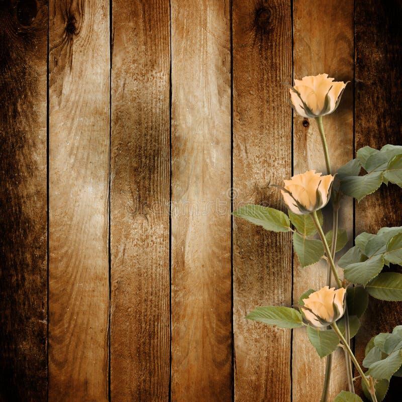 Carte postale de vintage pour la félicitation avec les roses roses sur le woode photos stock