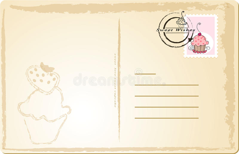 Carte postale douce illustration de vecteur