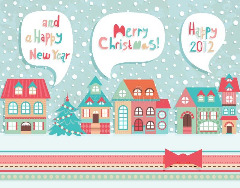 Carte postale drôle de Noël. illustration de vecteur