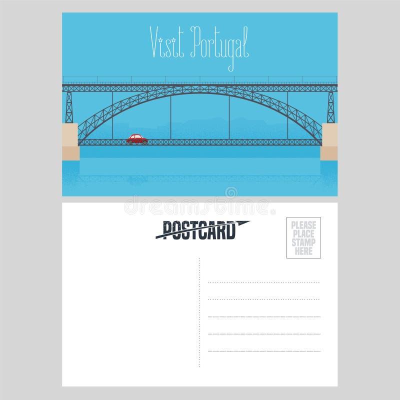 Carte postale du Portugal avec le pont de Porto au-dessus de l'illustration de vecteur de rivière de Douro illustration de vecteur