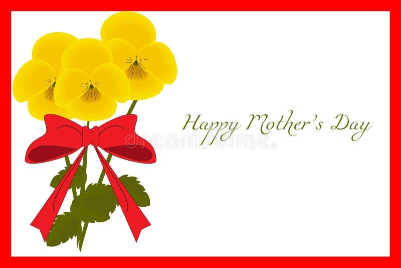 Carte postale florale avec le cadre rouge, pensée jaune, vecteur illustration de vecteur