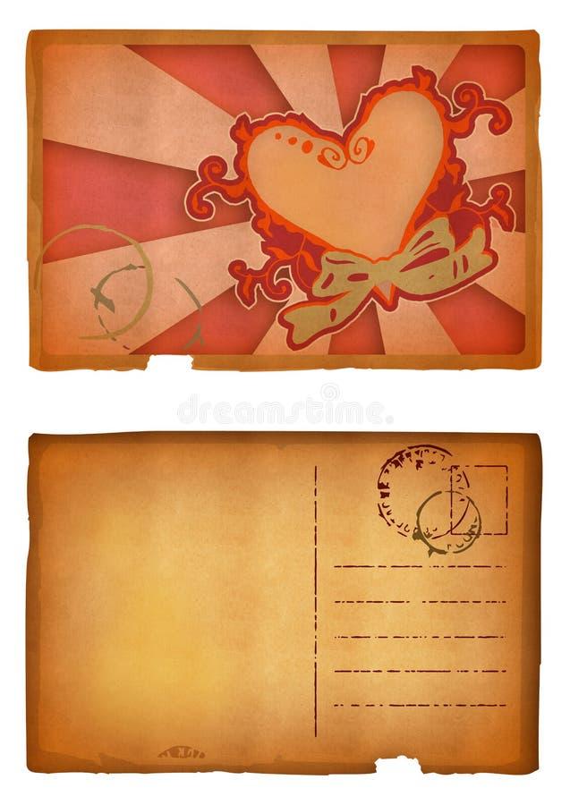 Carte postale grunge de coeur illustration libre de droits