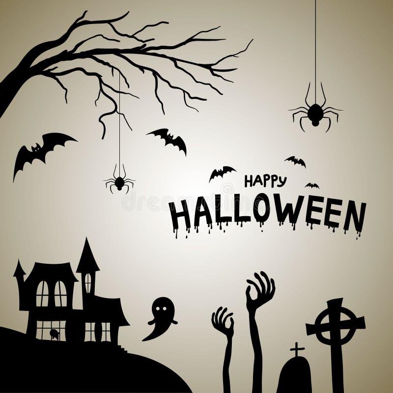 Carte postale heureuse de Halloween Chambre avec la silhouette de cimetière avec des battes et des araignées illustration de vecteur