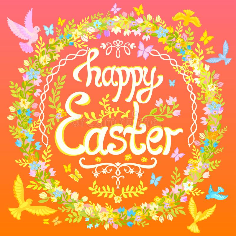 Carte postale heureuse de Pâques - entourez avec des fleurs et des oiseaux illustration stock