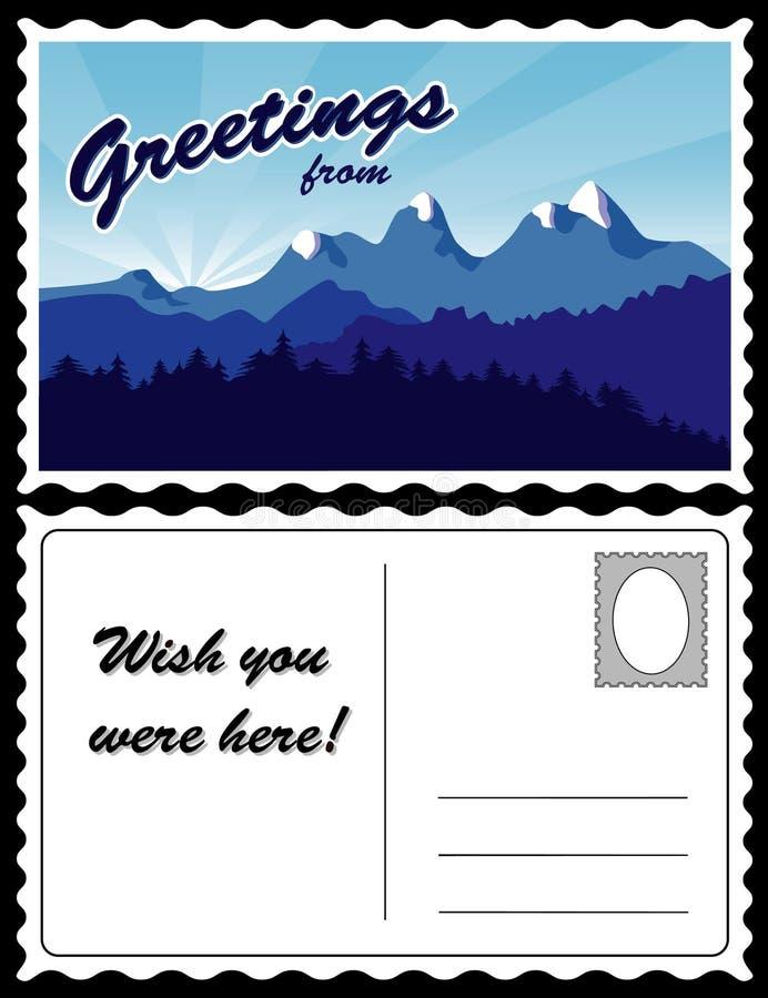 Carte postale, horizontal de montagne illustration stock