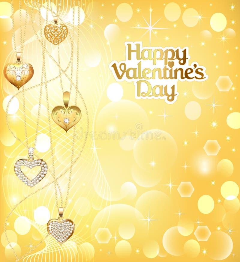 Carte postale le jour de valentines avec la chaîne de coeurs de pendants de l'or Co illustration stock