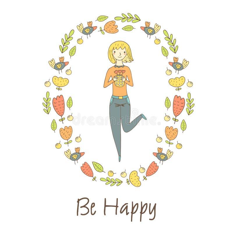 Carte postale mignonne de griffonnage, carte, couverture avec la fille blonde heureuse illustration stock