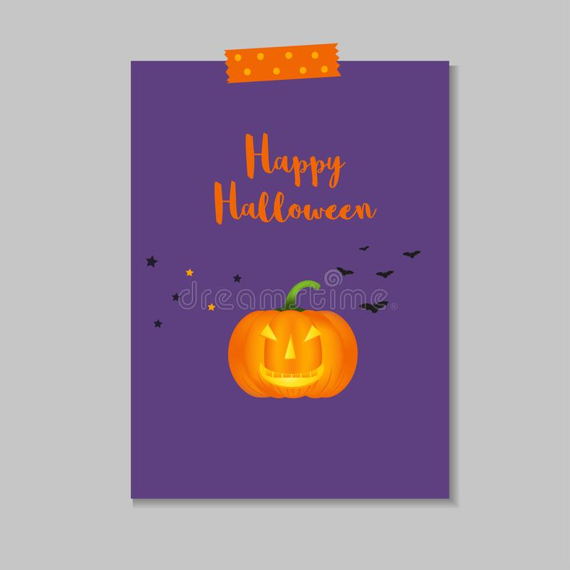 Carte postale mignonne de Halloween illustration stock