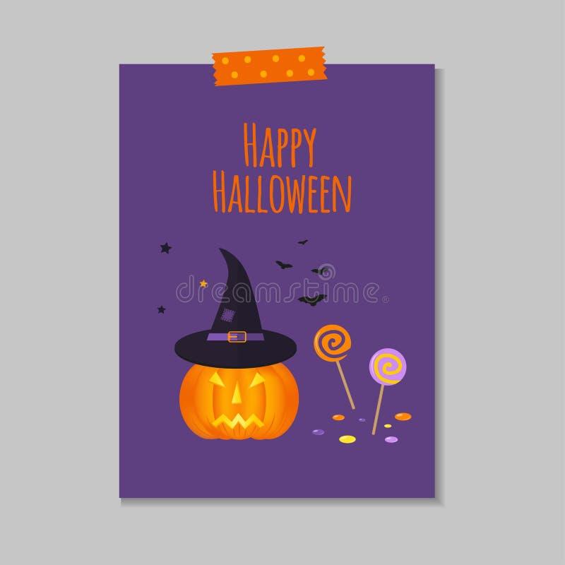 Carte postale mignonne de Halloween illustration de vecteur