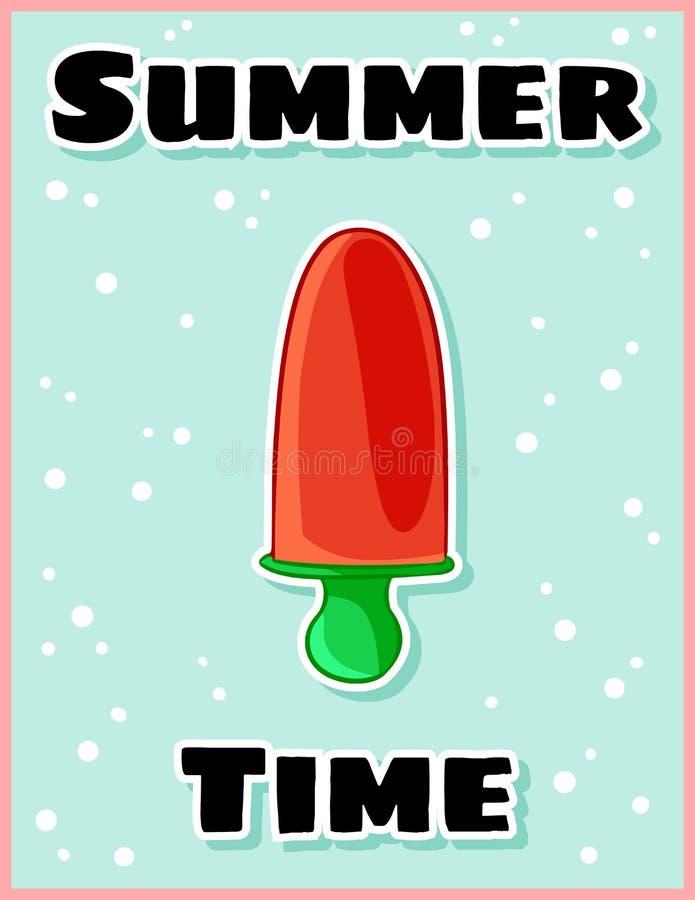 Carte postale mignonne douce de bande dessinée de crème glacée de fruit d'heure d'été Citation cr?ative, romantique, inspir?e Ins illustration de vecteur