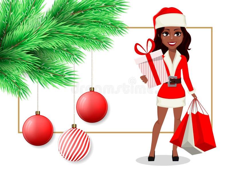 Carte postale postcardMerry de Noël de Joyeux Noël avec la belle femme d'Afro-américain dans le costume de Santa Claus illustration stock
