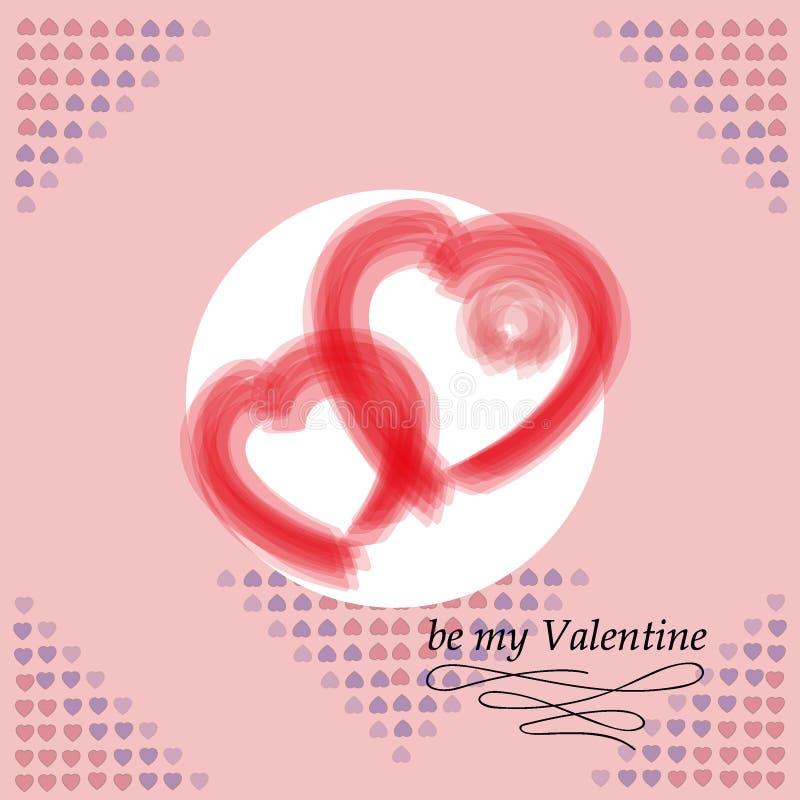 Carte postale pour le jour du `s de Valentine Soyez mon Valentine Texture décorative de vecteur image stock
