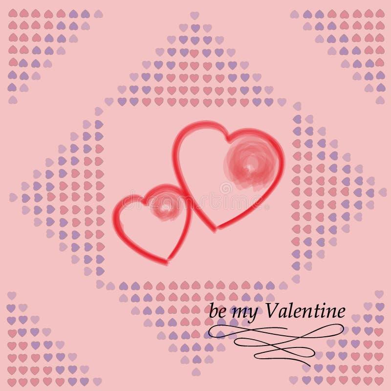 Carte postale pour le jour du `s de Valentine Soyez mon Valentine Texture décorative de vecteur image libre de droits