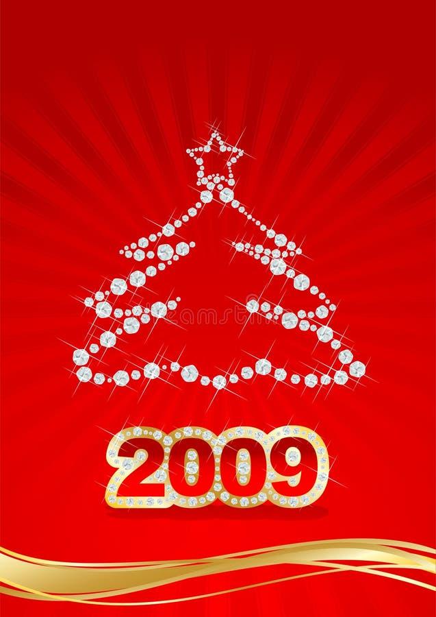 Carte postale rouge de Noël illustration libre de droits