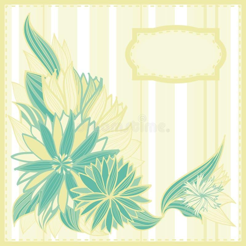 Carte postale verte et beige avec des fleurs et des trames illustration libre de droits
