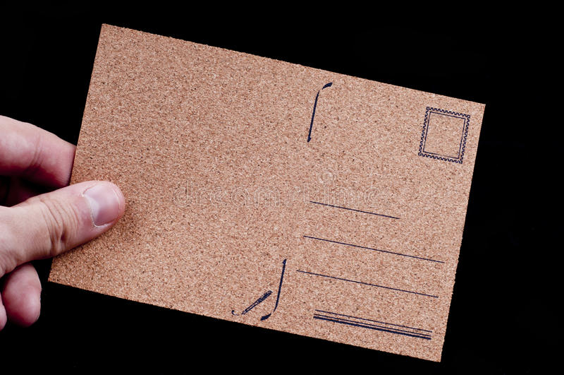 Carte postale vide par le liège maerial photographie stock libre de droits