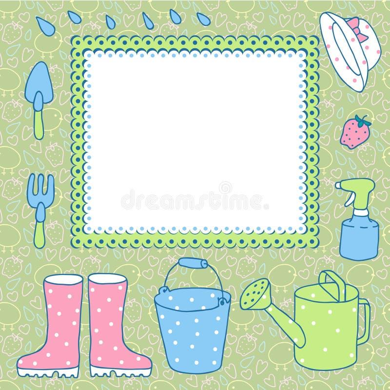 Carte pour enregistrer le jardinage. illustration de vecteur