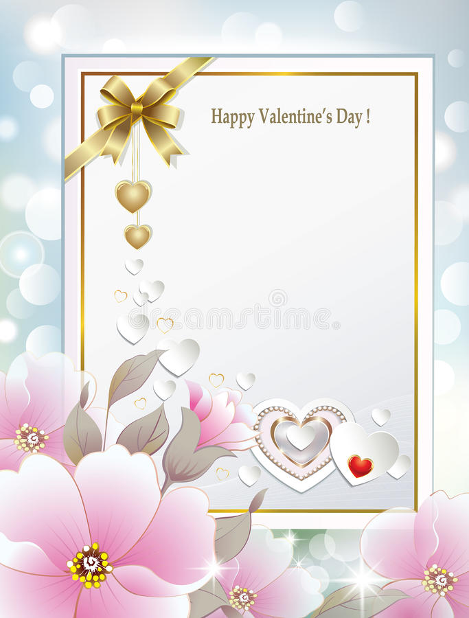 Carte pour la félicitation avec des fleurs la Saint-Valentin illustration de vecteur
