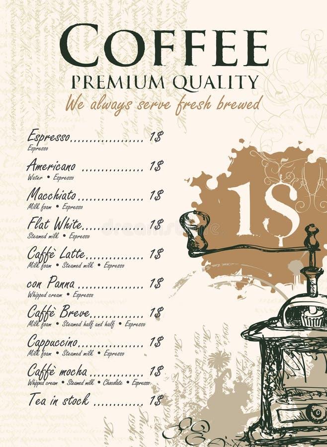 Carte pour le café illustration stock