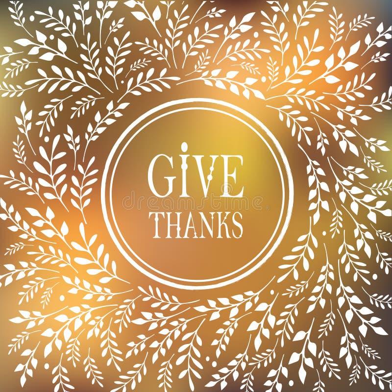 Carte pour le jour de thanksgiving illustration de vecteur