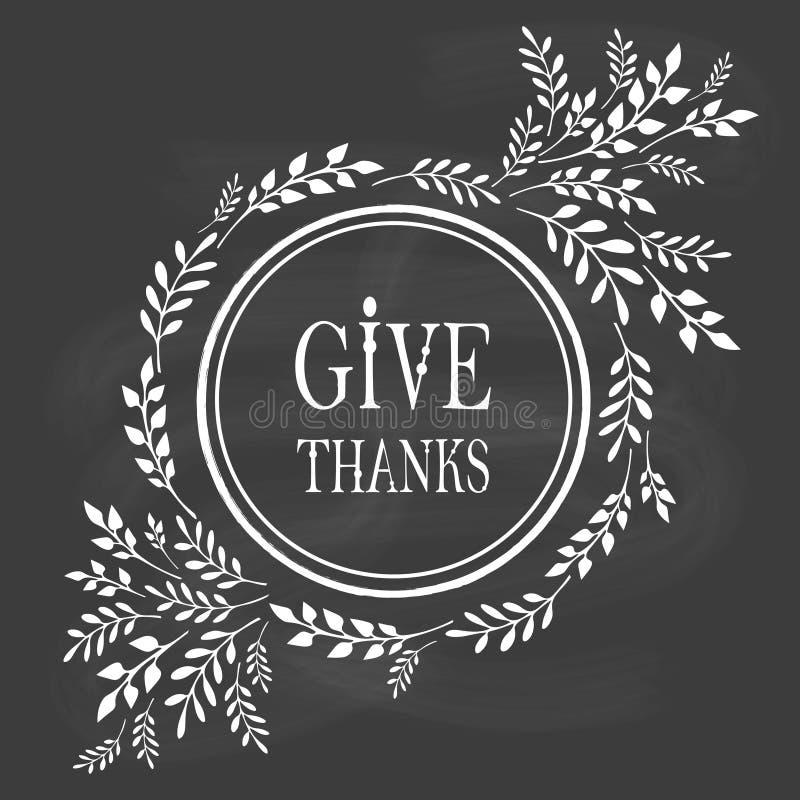 Carte pour le jour de thanksgiving sur le tableau noir illustration de vecteur