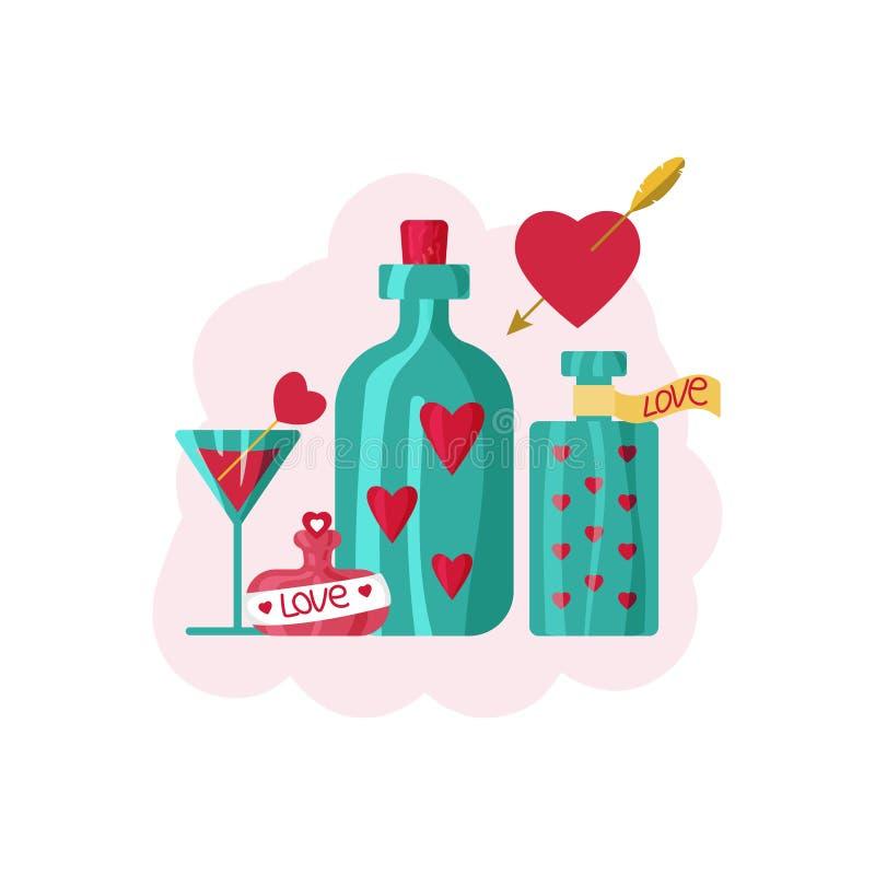 Carte pour le jour du ` s de valentine Bouteilles de philtre d'amour Illustration de vecteur dans illustration libre de droits