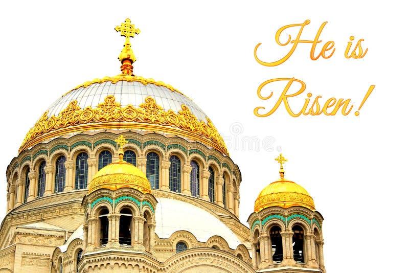 Carte pour Pâques avec l'église photo stock