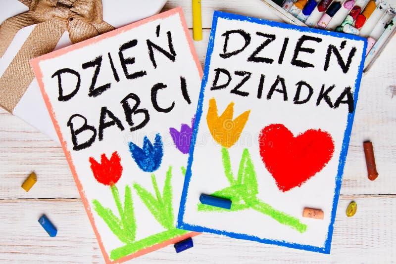 Carte première génération polonaise de jour du ` s et de jour de grands-mères photo stock