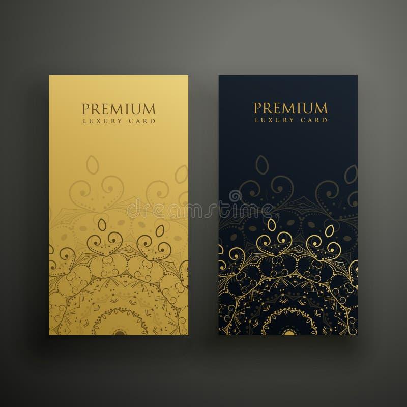 Carte premio della mandala in oro e nei colori neri illustrazione vettoriale