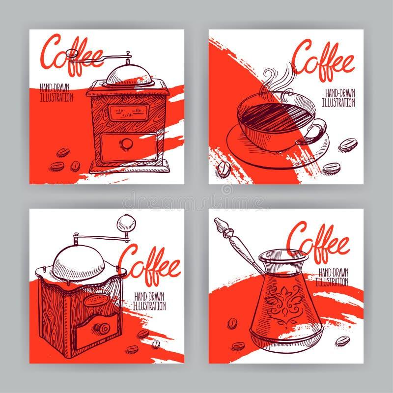Carte quatre avec du café illustration libre de droits