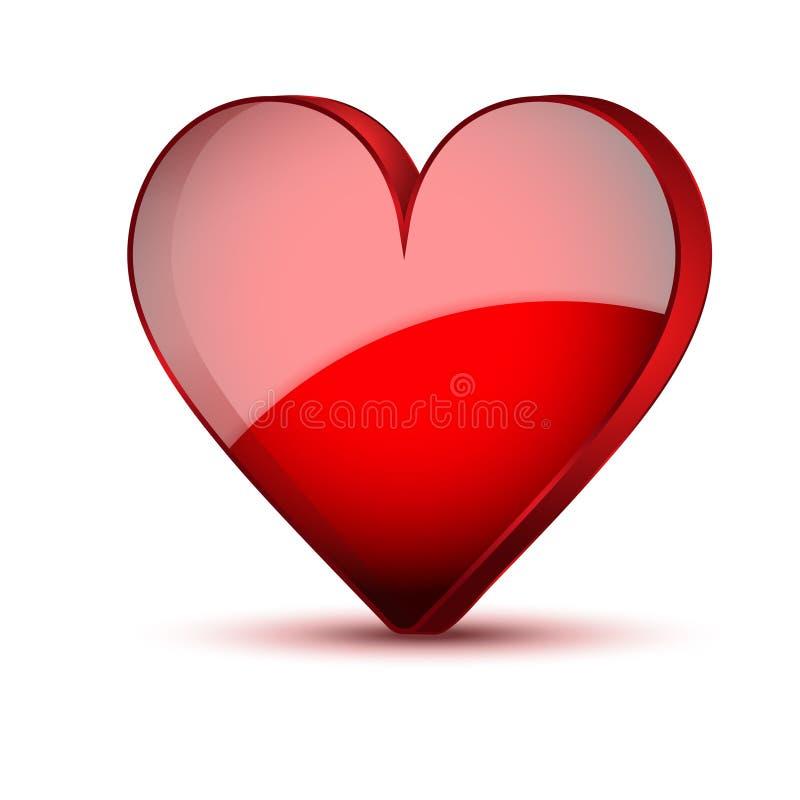 Carte réaliste rouge de jour de valentines de coeur illustration de vecteur