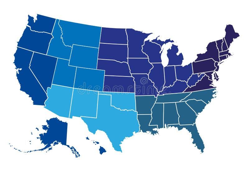 Carte régionale des Etats-Unis illustration stock