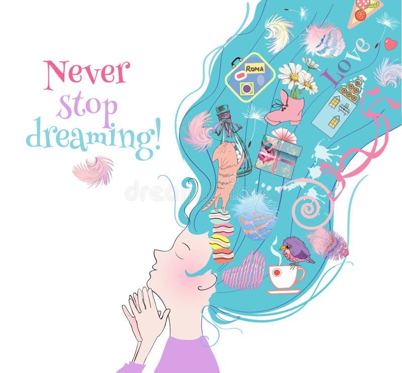 Carte rêveuse de fille illustration stock