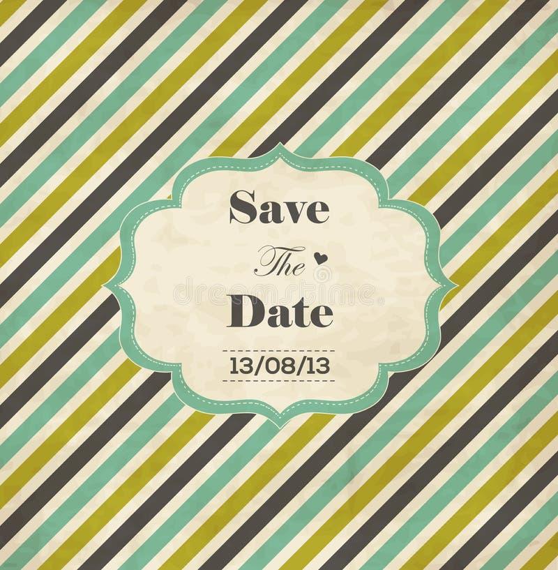 Carte rayée d'invitation de mariage avec le cadre illustration stock