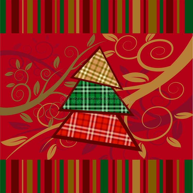 Carte rayée de Noël avec l'arbre d'an neuf illustration libre de droits