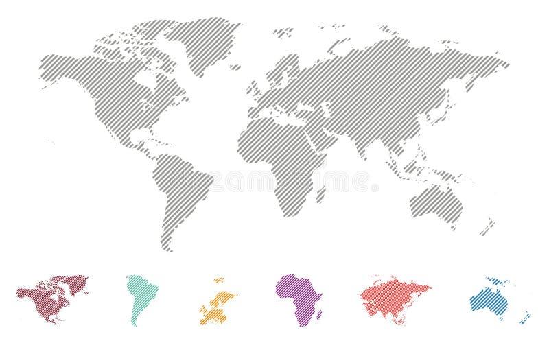 Carte rayée du monde de vecteur illustration de vecteur