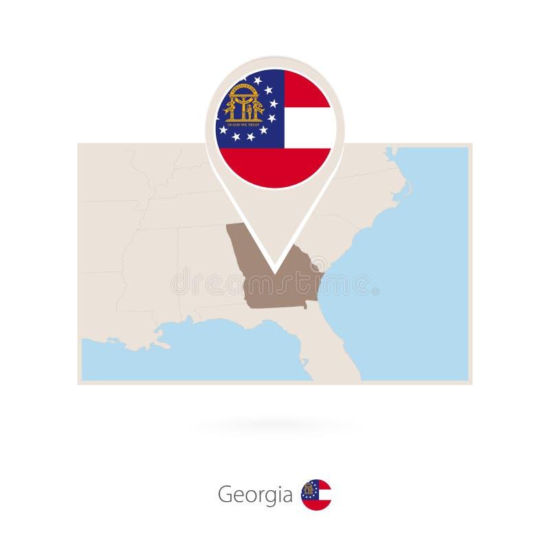Carte rectangulaire d'état d'USA la Géorgie avec l'icône de goupille de la Géorgie illustration stock