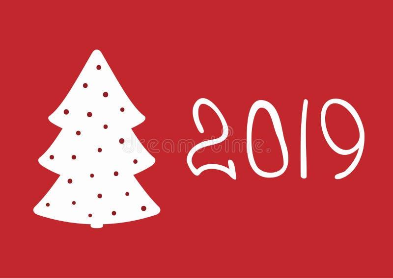 Carte rectangulaire simple de nouvelle année avec l'arbre de Noël et le numéro 2019 illustration libre de droits
