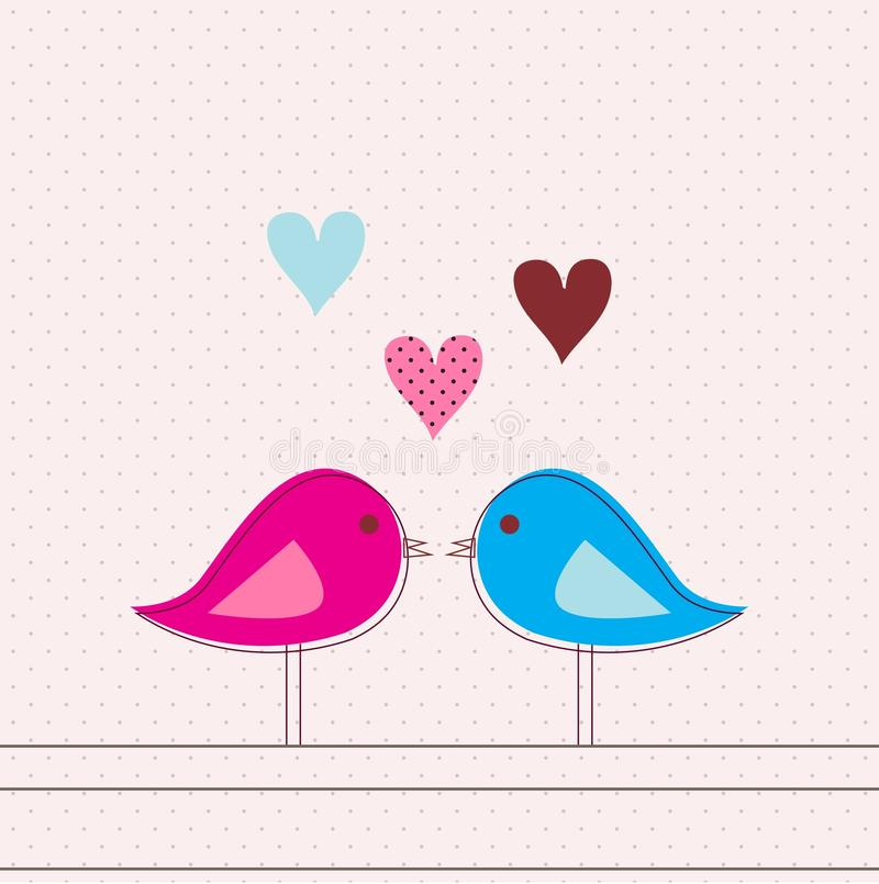 Carte romantique avec des oiseaux illustration libre de droits