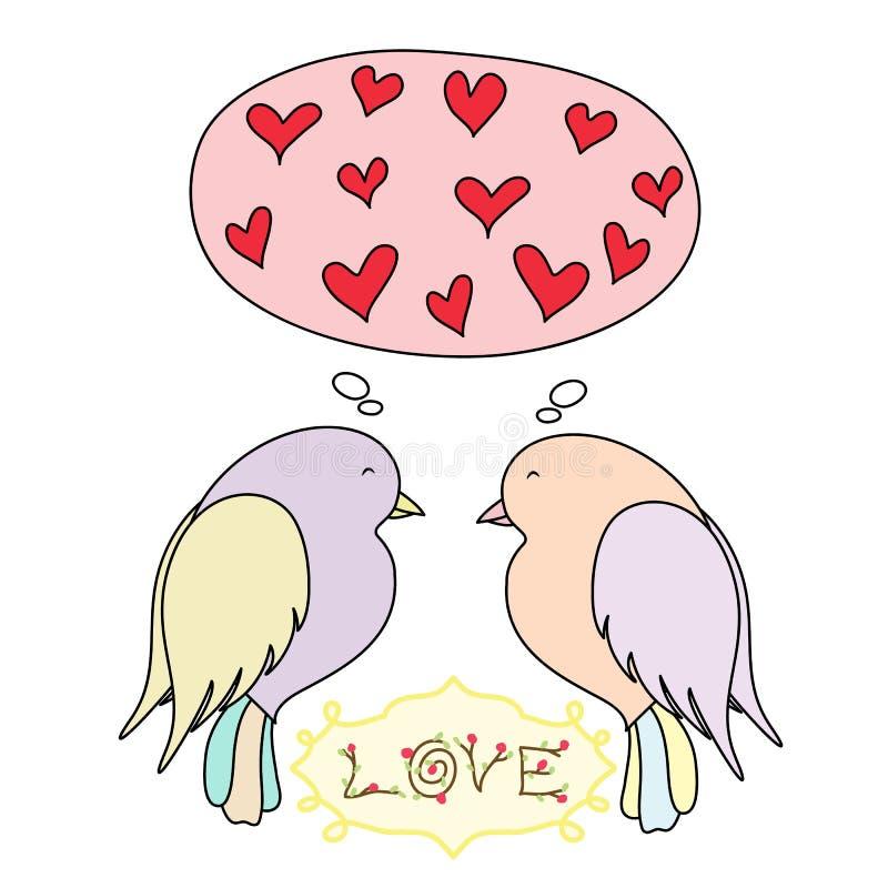 Carte romantique avec des oiseaux dans l'amour illustration de vecteur