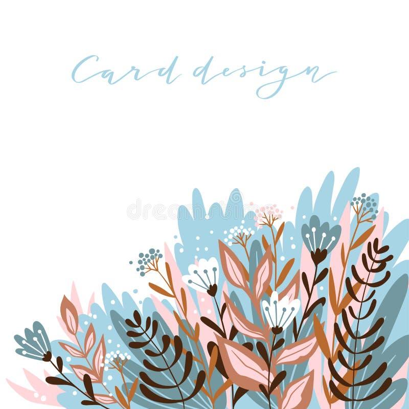 Carte romantique de fleur avec l'endroit pour le texte Conception mignonne de calibre d'invitation de mariage Illustration de vec illustration de vecteur