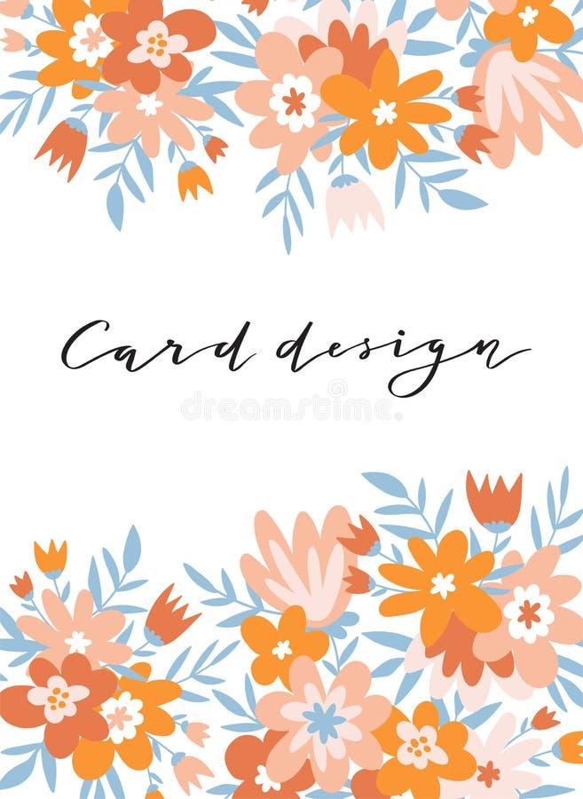 Carte romantique de fleur avec l'endroit pour le texte Conception mignonne de calibre d'invitation de mariage Illustration de vec illustration stock