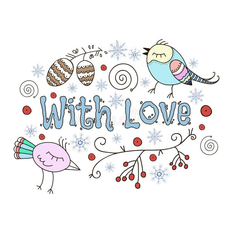 Carte romantique de l'hiver Avec amour Illustration de griffonnage illustration stock