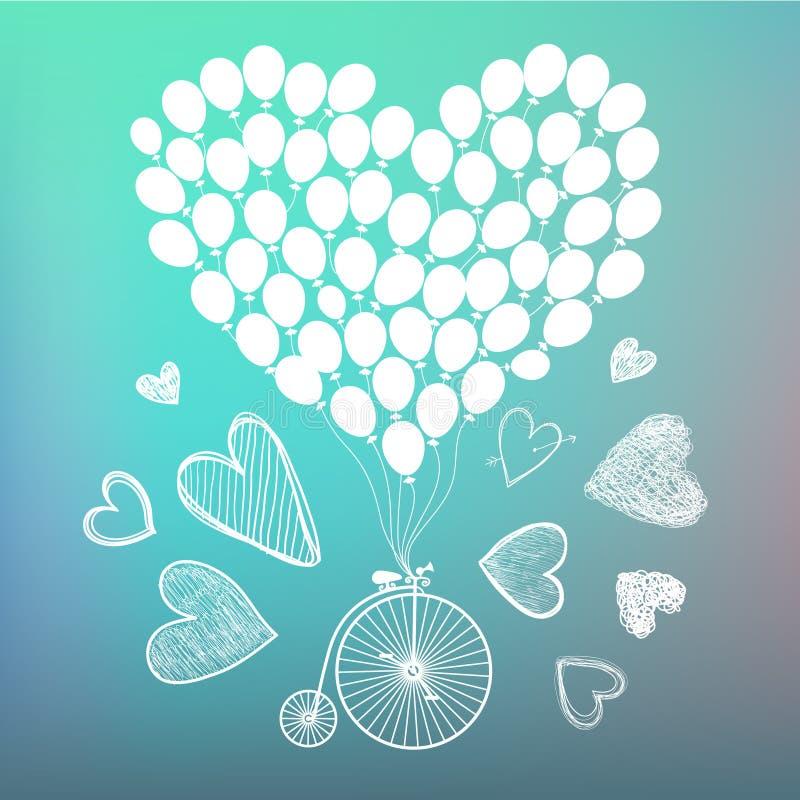 Carte romantique tirée par la main de vecteur, affiche Rétro bicyclette avec les cartes tirées par la main et les ballons autour  illustration stock