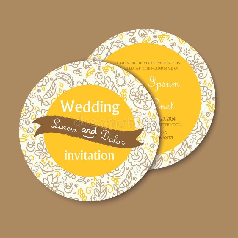 Carte ronde et double face d'invitation de mariage de vintage illustration libre de droits