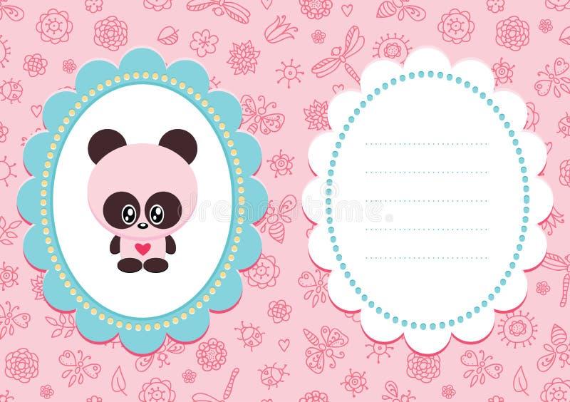 Carte rose de bébé avec le panda illustration stock